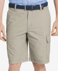 Izod Men's Big And Tall Lightweight Poplin Cargo Shorts Stone
