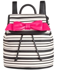 Betsey Johnson Bow Flapover Backpack Stripe Fuchsia