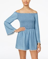 American Rag Off The Shoulder Denim Romper Only At Macy's Chambray