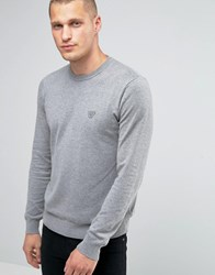 Armani Jeans Jumper With Crew Neck With Eagle Logo In Grey Light Grey