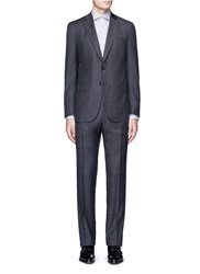 Isaia 'Gregory' Overcheck Aquaspider Wool Suit Grey
