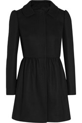 Red Valentino Pleated Wool Blend Coat Black