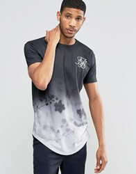 Sik Silk Siksilk Floral T Shirt With Curved Hem Black