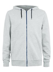 Topman Long Sleeve Zip Through Hoodie. Light Grey