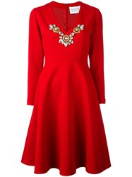 Stefano De Lellis Embellished V Neck Dress Red