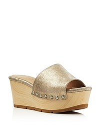 Splendid Lana Metallic Platform Slide Sandals Champagne