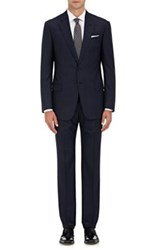 Giorgio Armani Men's Grid Pattern Worsted Wool Two Button Suit Turquoise