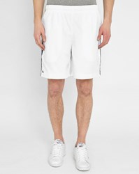 White And Blue Striped Lacoste Sport Polyester Shorts
