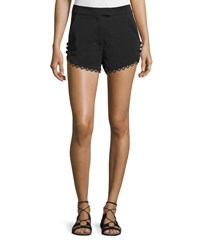 A.L.C. Lucas Scalloped Crepe Shorts Black