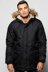 Boohoo Fur Hooded Parka Jacket Black