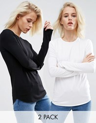 Asos T Shirt With Long Sleeves And Crew Neck 2 Pack Black White Multi