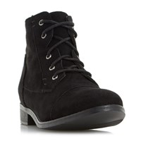 Head Over Heels Paola Toecap Detail Lace Up Ankle Boots Jet Black