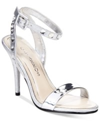 Caparros Cassidy Ankle Strap Evening Sandals Women's Shoes Silver Metallic