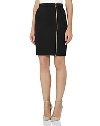 Reiss Ria Zip Front Neoprene Pencil Skirt Black