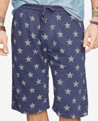 Denim And Supply Ralph Lauren Star Patterned Jersey Athletic Shorts Navy