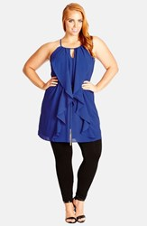 Plus Size Women's City Chic Waterfall Ruffle Sleeveless Tunic