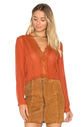 Lucy Paris Carissa V Neck Top Rust