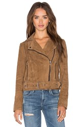 Muubaa Warren Belted Biker Jacket Tan