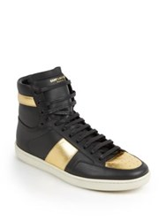 Saint Laurent Metallic Colorblocked Leather High Top Sneakers Black Gold Black Blue