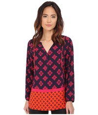 Hatley Long Sleeve Blouse Mini Aztec Women's Blouse Red