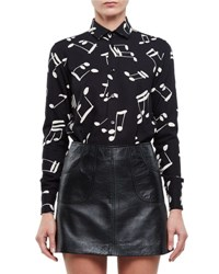 Saint Laurent Music Notes Classic Long Sleeve Twill Blouse Black White