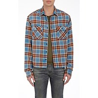 R 13 R13 Men's Brushed Flannel Grunge Shirt Blue
