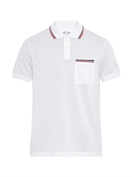Moncler Gamme Bleu Striped Trim Cotton Polo Shirt