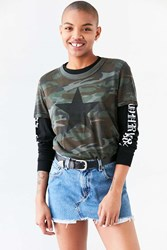 Truly Madly Deeply Camo Star Tee Green