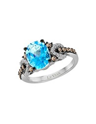 Le Vian Blue Topaz Chocolate Diamonds Vanilla Diamonds And 14K White Gold Ring