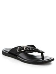 Saks Fifth Avenue Braided Leather Flip Flops Black