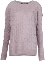 Ralph Lauren Black Label Aran Knit Sweater Pink And Purple