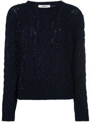 Valentino Cable Knit Jumper Blue
