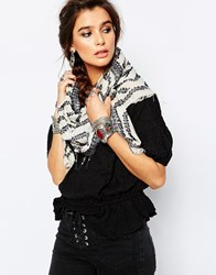 Pieces Oversized Trim Detail Fringe Scarf Multi