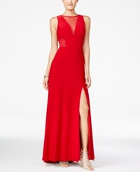 Morgan And Company Juniors' Illusion Front Slit A Line Gown Medium Red