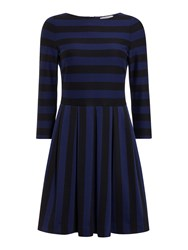 Marella Este Striped Fit And Flare Dress Navy