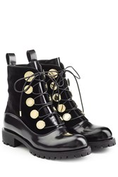 Alexander Mcqueen Leather And Velvet Ankle Boots Black