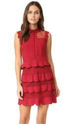 Red Valentino Collared Ruffle Dress Black Cherry