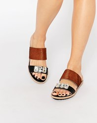 Park Lane Jewel Slide Leather Flat Sandals Tan Black