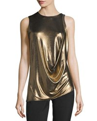 Halston Sleeveless Draped Metallic Jersey Top Bronze