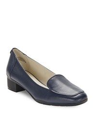Anne Klein Daneen Leather Loafers Navy Blue