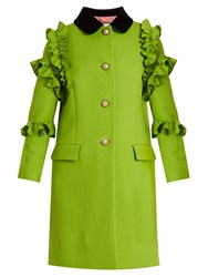 Gucci Ruffle Trimmed Single Breasted Wool Coat 3510 Green Multi