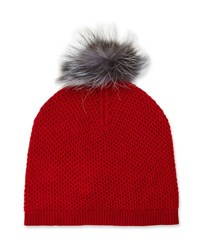 Neiman Marcus Cashmere Fox Fur Pompom Knit Hat Red