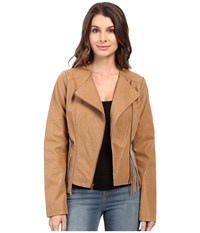 Jessica Simpson Asymmetrical Zip With Fringe Detail Jacket Tan Women's Coat