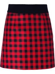 Fausto Puglisi Gingham Check Skirt Red