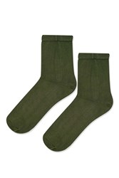 Topshop Silky Ribbed Ankle Socks Khaki