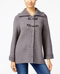 Jm Collection Petites Petite Toggle Front Cardigan Only At Macy's Charcoal Heather