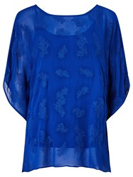 Phase Eight Guilia Embroidered Tunic Top Cobalt