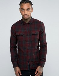 Replay Check Flannel Shirt In Red Dark Red