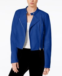 Bar Iii Cropped Faux Leather Jacket Only At Macy's Lazulite