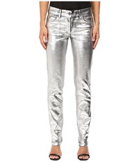 Just Cavalli Laminated 3D Stretch Five Pocket Runway Denim Silver Women's Jeans